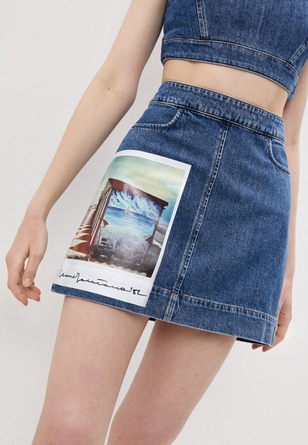 женская джинсовые юбка sportmax, серебряная