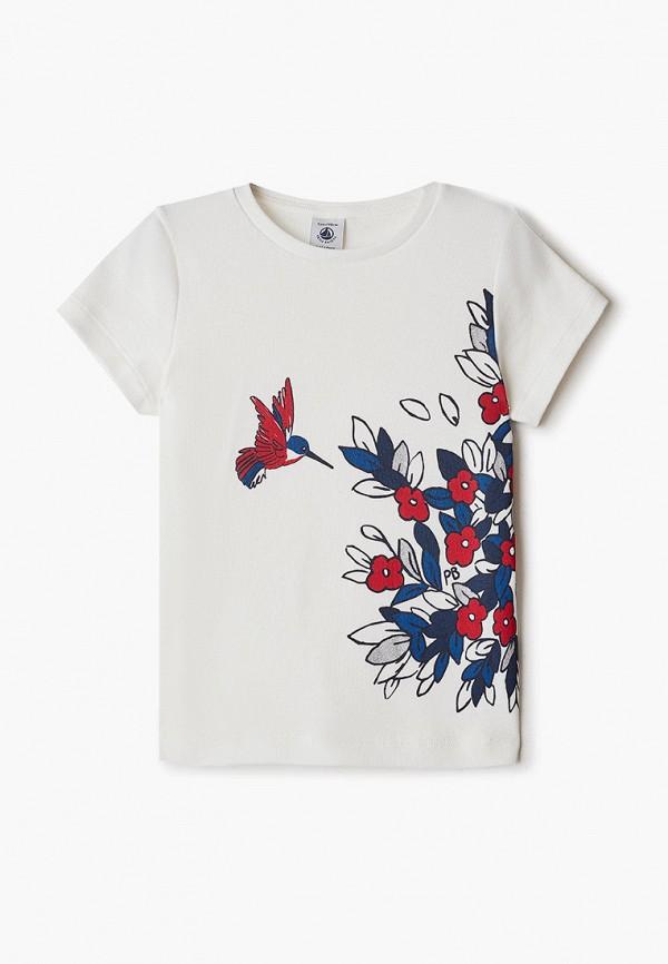 футболка с коротким рукавом petit bateau для девочки, белая