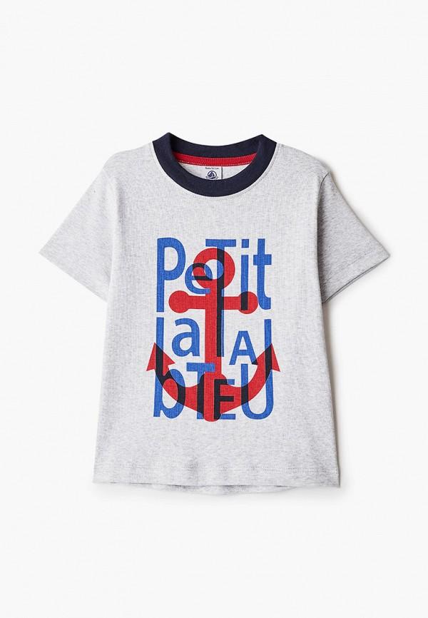футболка с коротким рукавом petit bateau для мальчика, серая