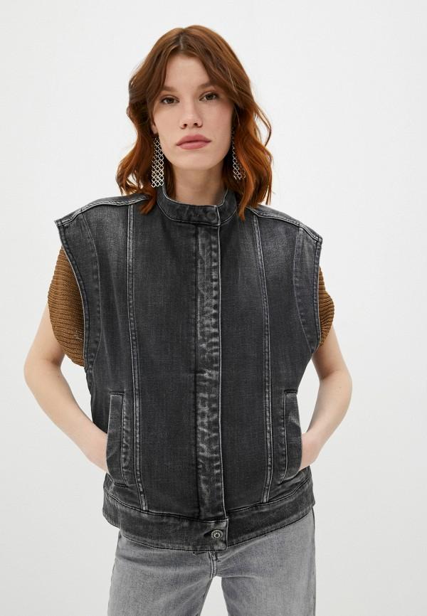 женский джинсовые жилет dondup, серый