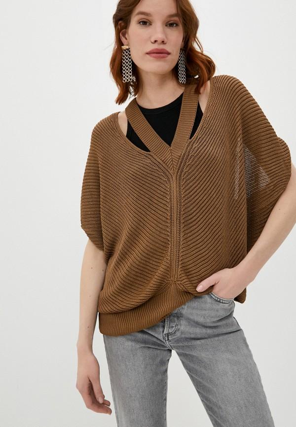 женский жилет dondup, коричневый