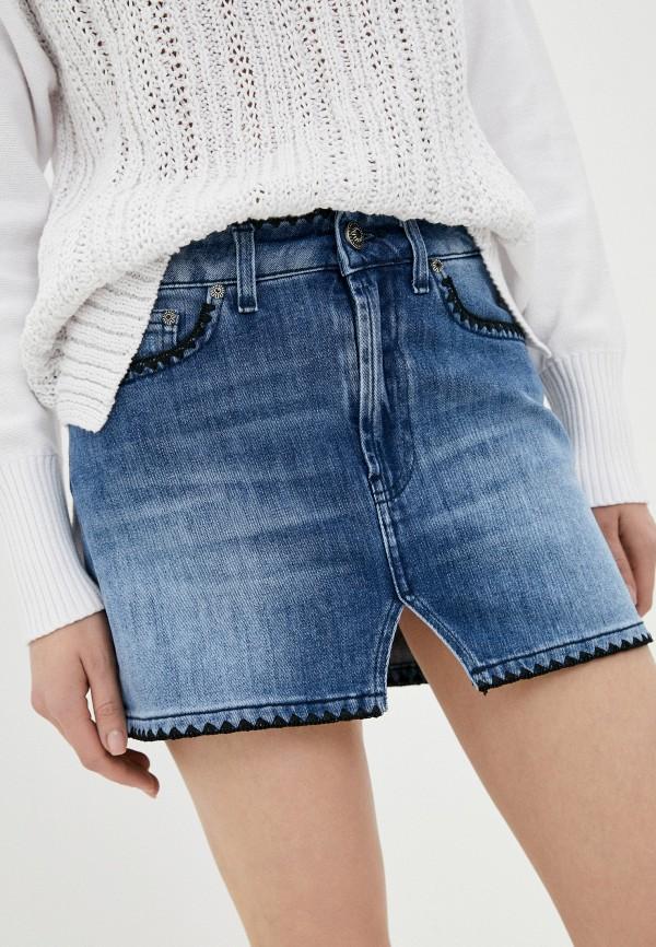 женская джинсовые юбка dondup, голубая