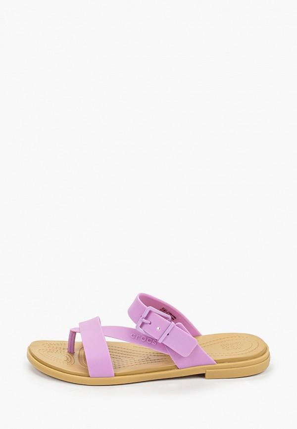 женские сланцы crocs, фиолетовые