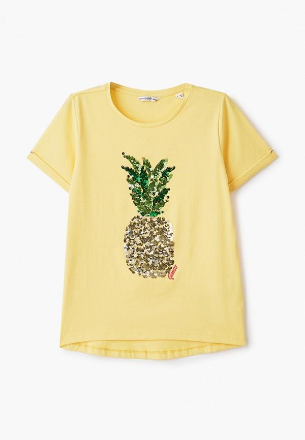 футболка с коротким рукавом guess для девочки, желтая