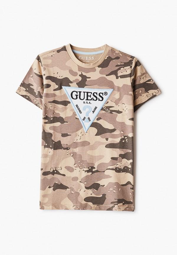 футболка с коротким рукавом guess для мальчика, коричневая