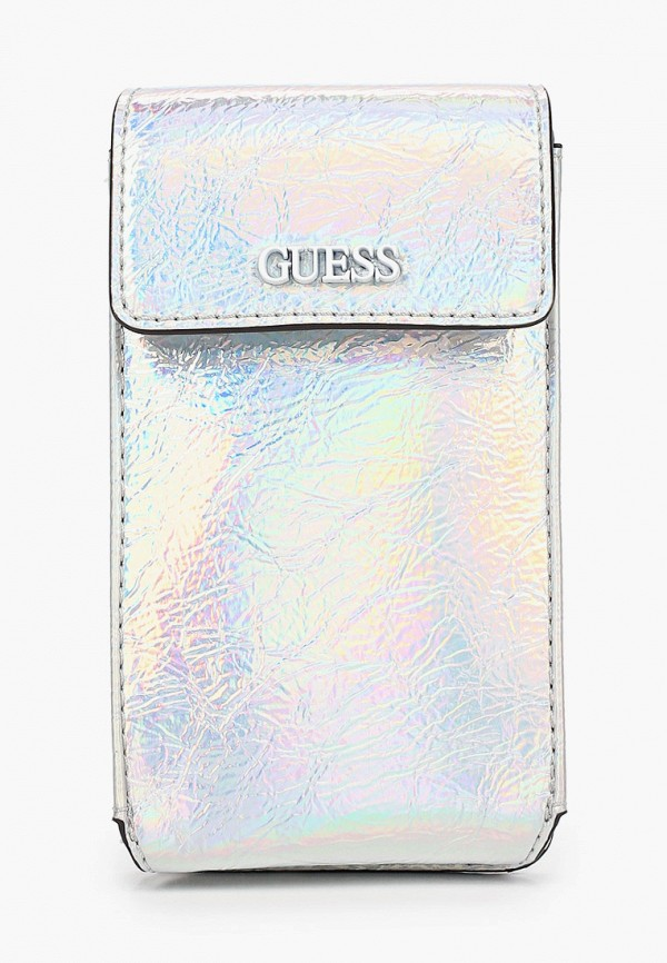 женская сумка через плечо guess, серебряная