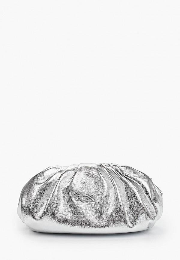 женский клатч guess, серебряный