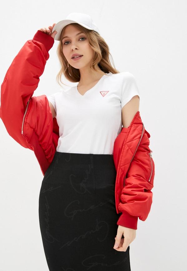 женская футболка guess, белая