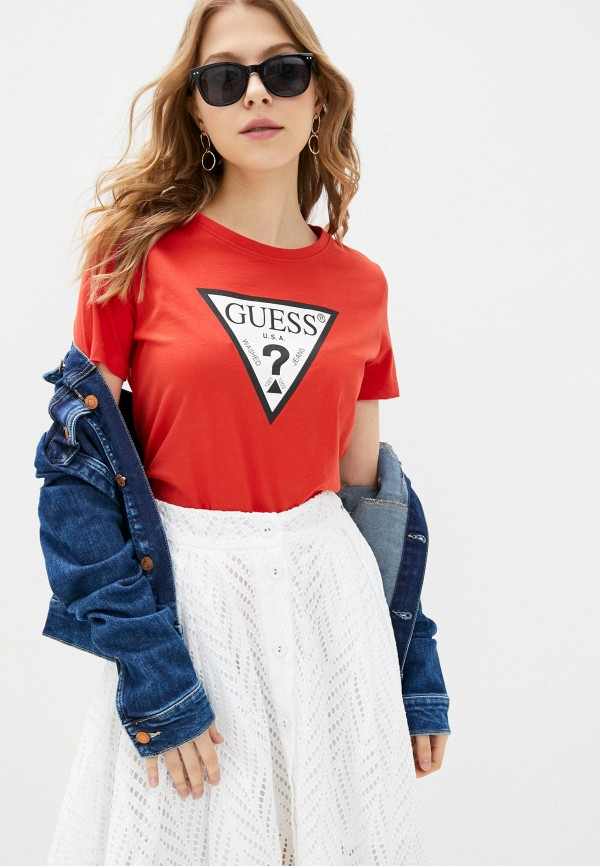 женская футболка guess, красная