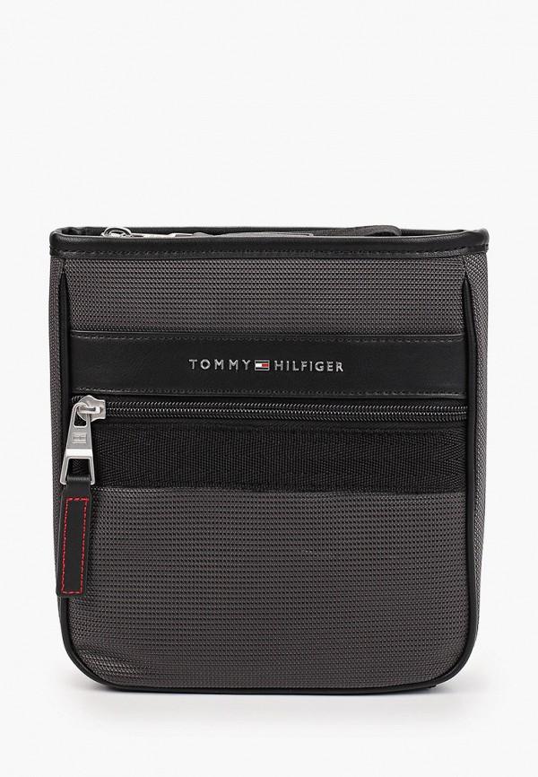 мужская сумка через плечо tommy hilfiger, серая