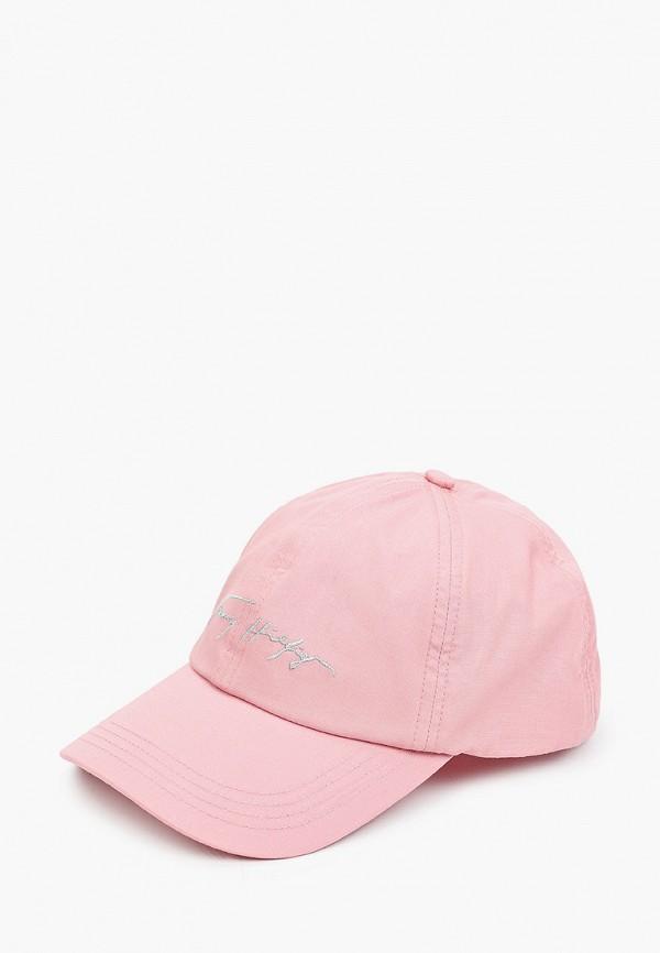женская бейсболка tommy hilfiger, розовая