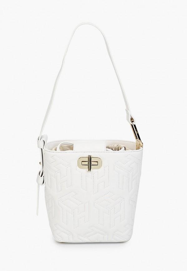 женская сумка-ведро tommy hilfiger, белая