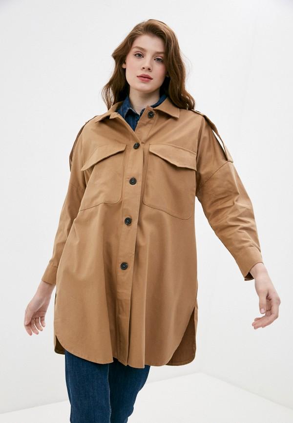 женская рубашка с длинным рукавом b.style, коричневая