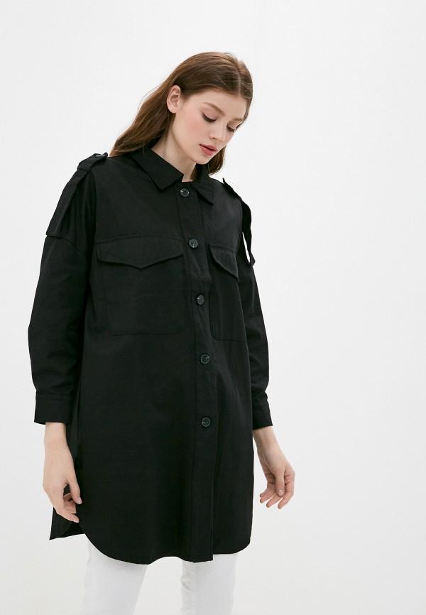 женская рубашка с длинным рукавом b.style, черная