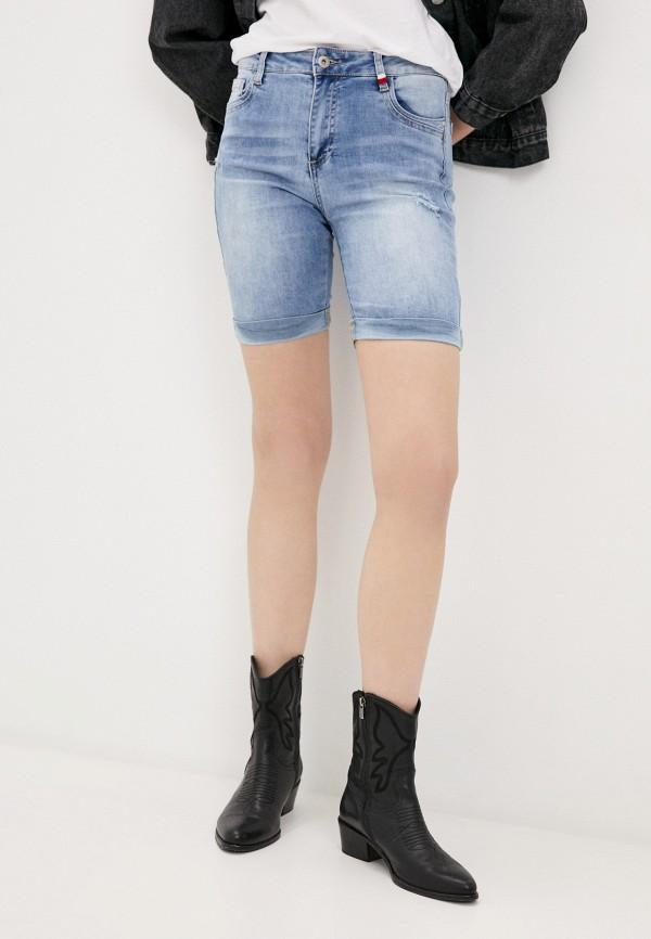 женские джинсовые шорты b.style, голубые