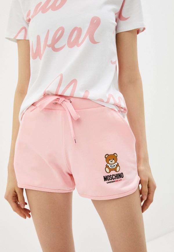 женские спортивные шорты moschino underwear, розовые
