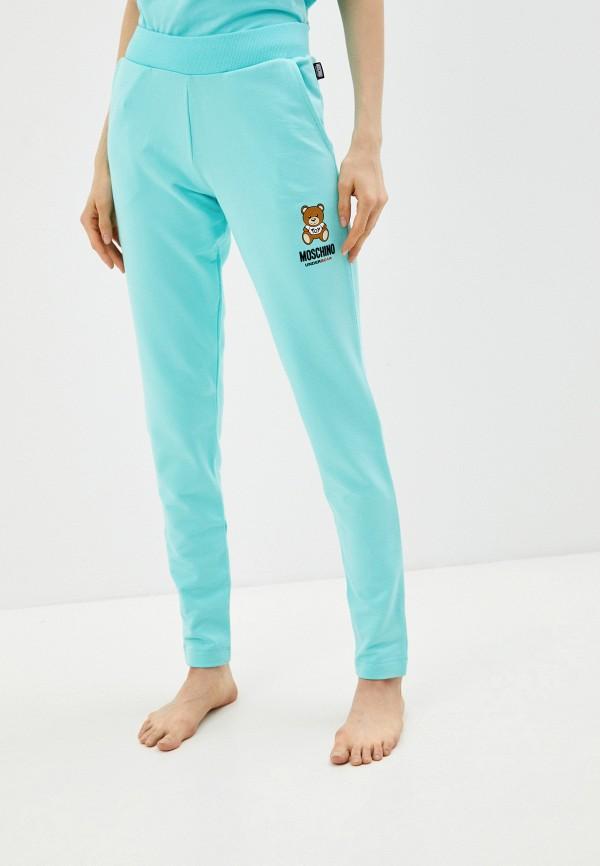 женские спортивные брюки moschino underwear, голубые