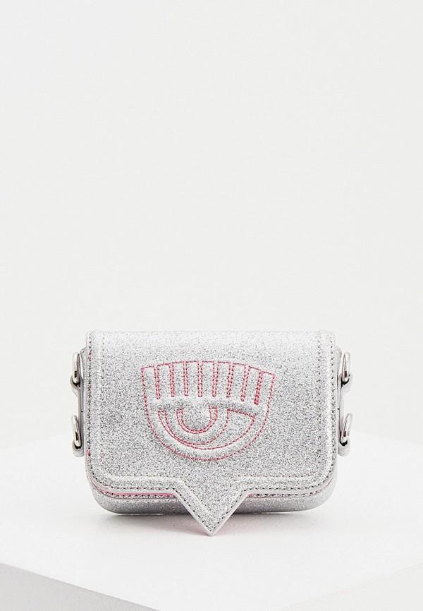 женская сумка chiara ferragni collection, серебряная