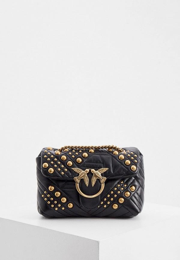 женская сумка с ручками pinko, черная