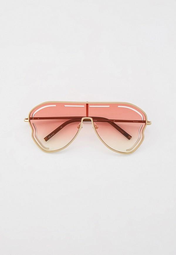 женские авиаторы солнцезащитные очки linda farrow, золотые