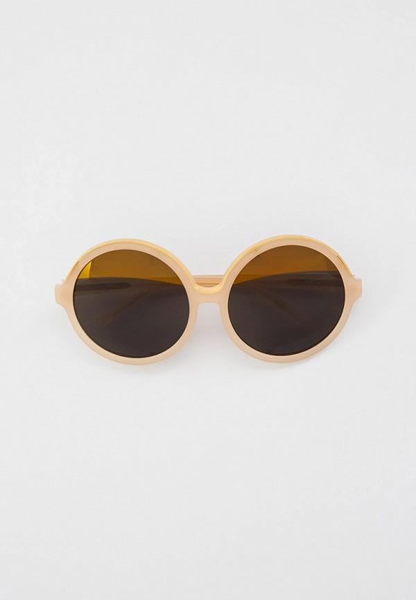 женские круглые солнцезащитные очки linda farrow, бежевые