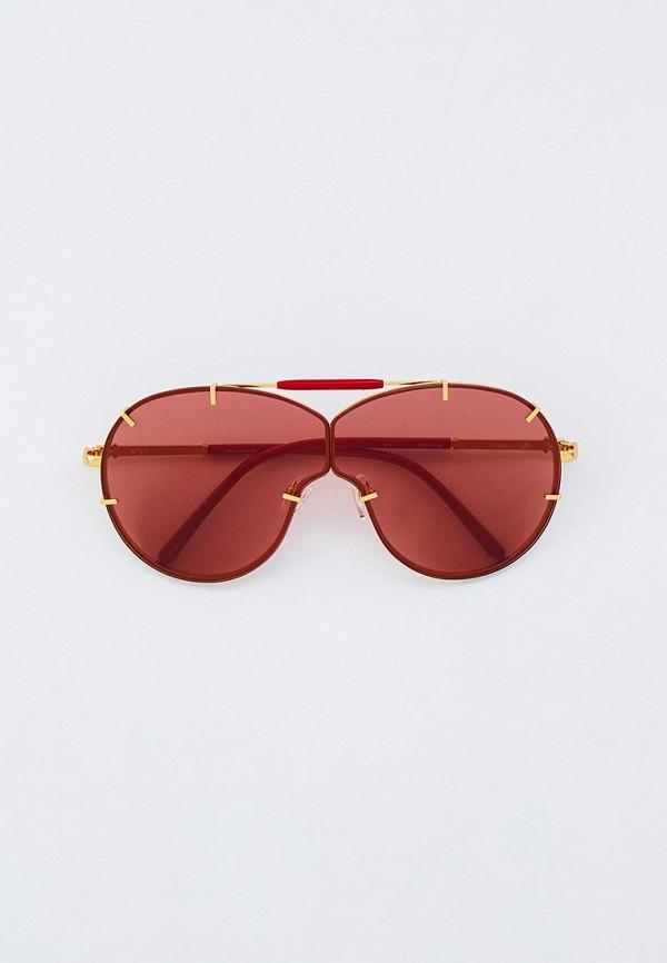 женские авиаторы солнцезащитные очки linda farrow, красные