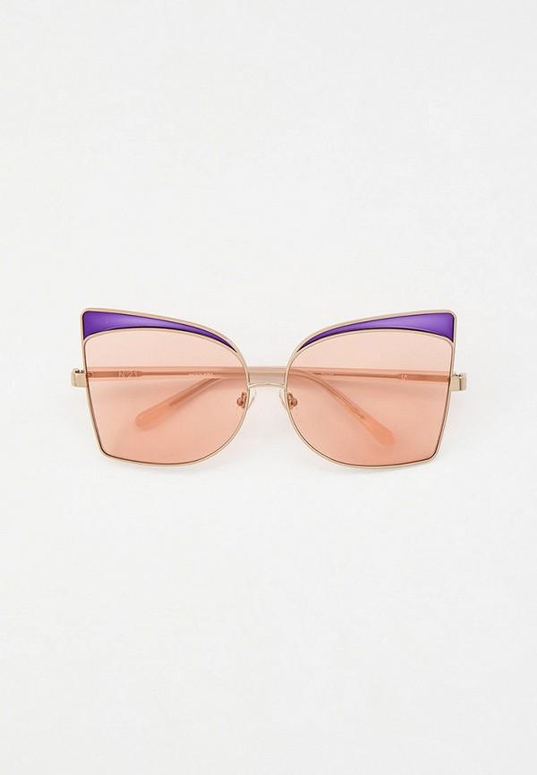 женские солнцезащитные очки кошачьи глаза linda farrow, серебряные