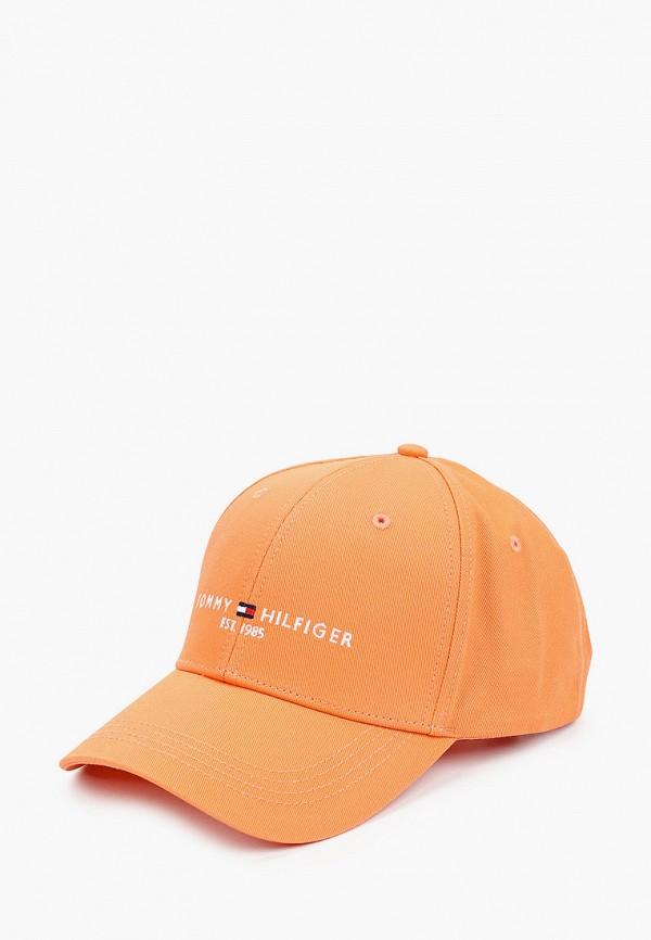 женская бейсболка tommy hilfiger, оранжевая