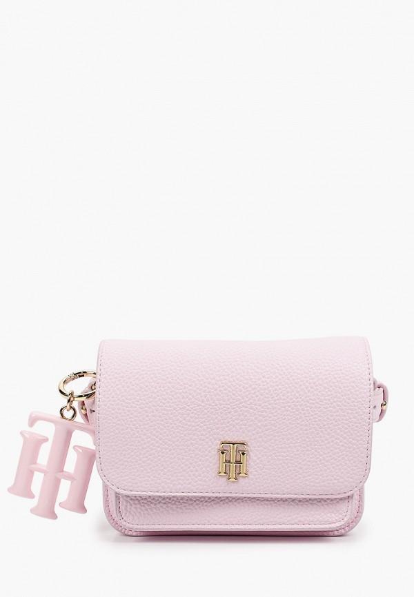 женская сумка через плечо tommy hilfiger, розовая