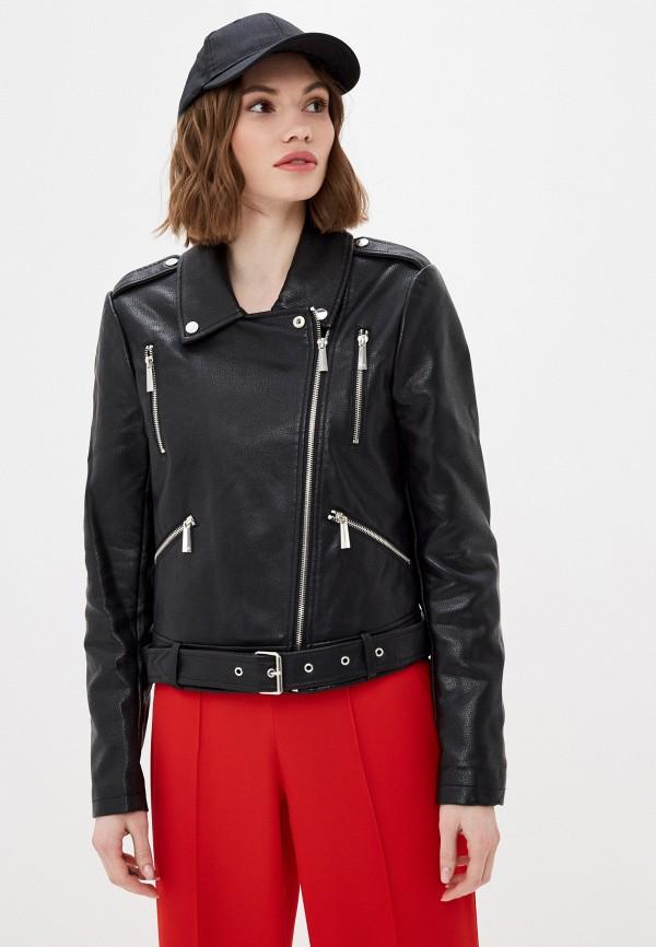 женская кожаные куртка silvian heach, черная