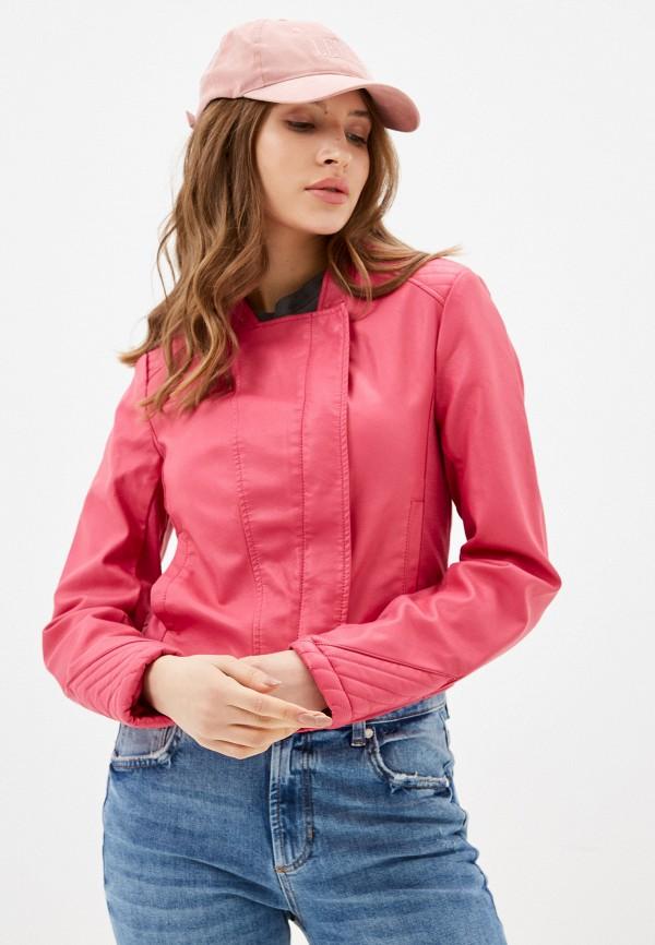 женская куртка косухи silvian heach, розовая