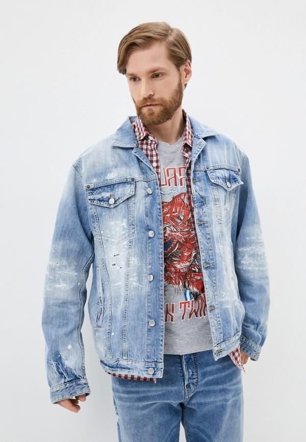мужская джинсовые куртка dsquared2, голубая
