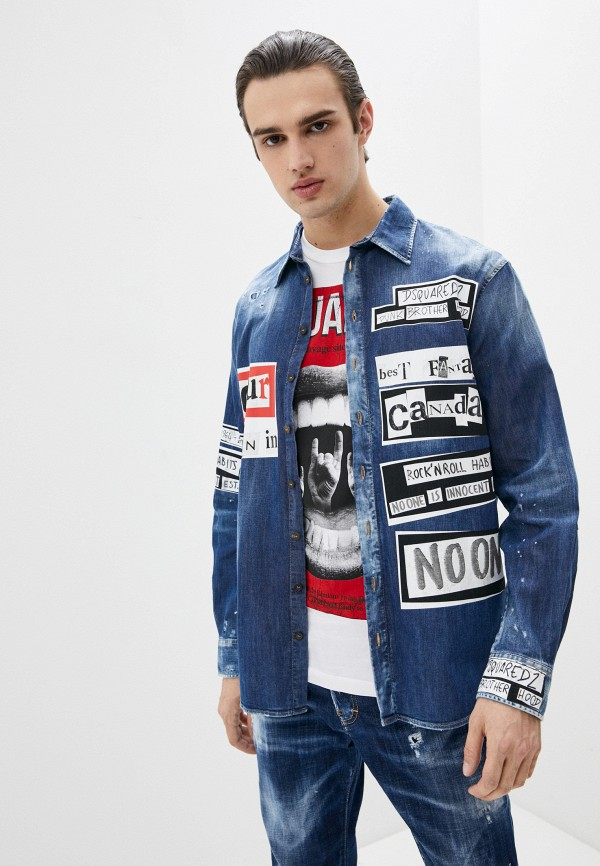 мужская джинсовые куртка dsquared2, синяя