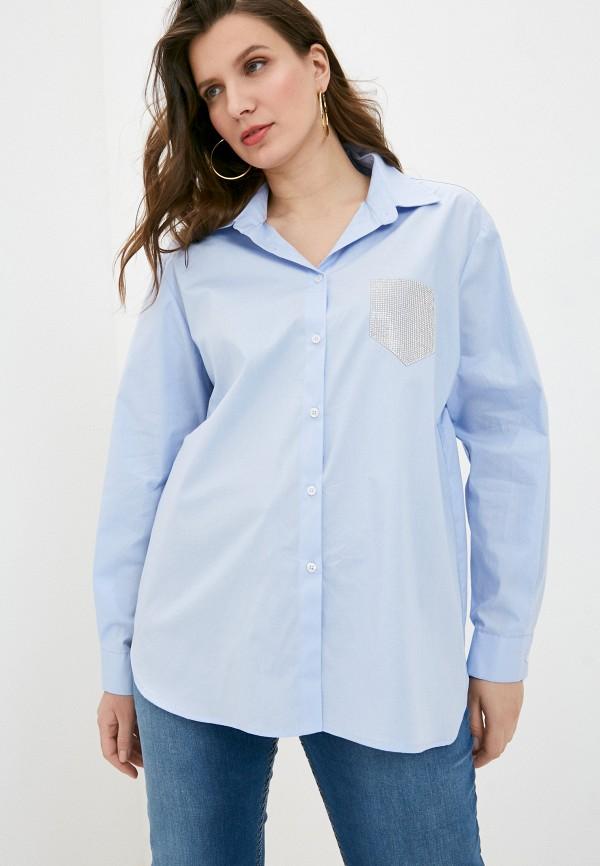 женская рубашка с длинным рукавом sophia, голубая