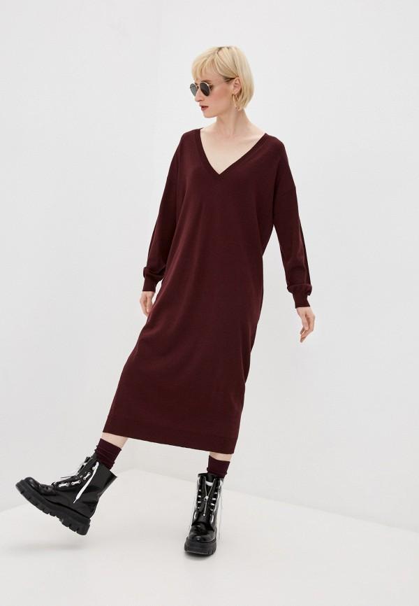 женское платье dsquared2, бордовое