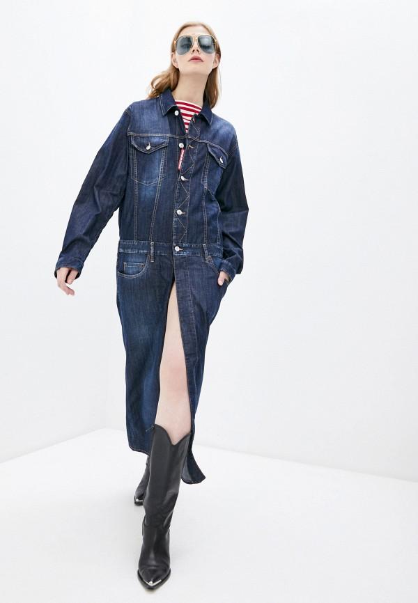 женское джинсовые платье dsquared2, синее