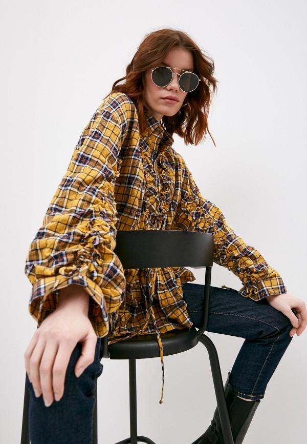 женская блузка dsquared2, коричневая