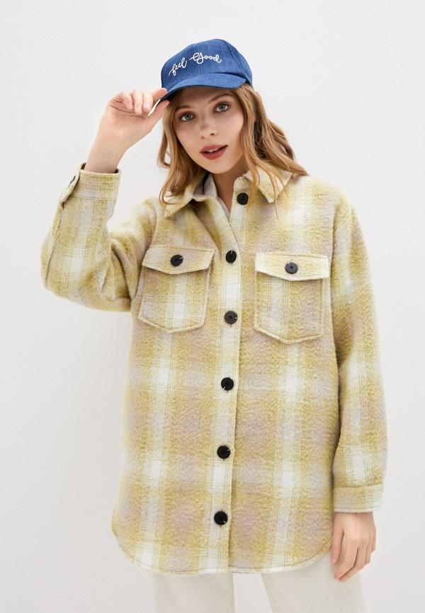 женское пальто only, желтое