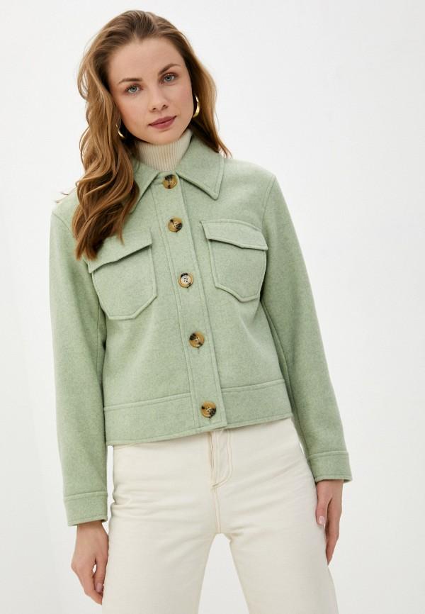 женская куртка pieces, зеленая