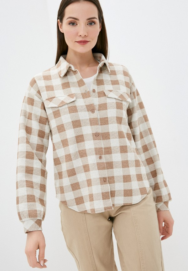 женская куртка pieces, коричневая
