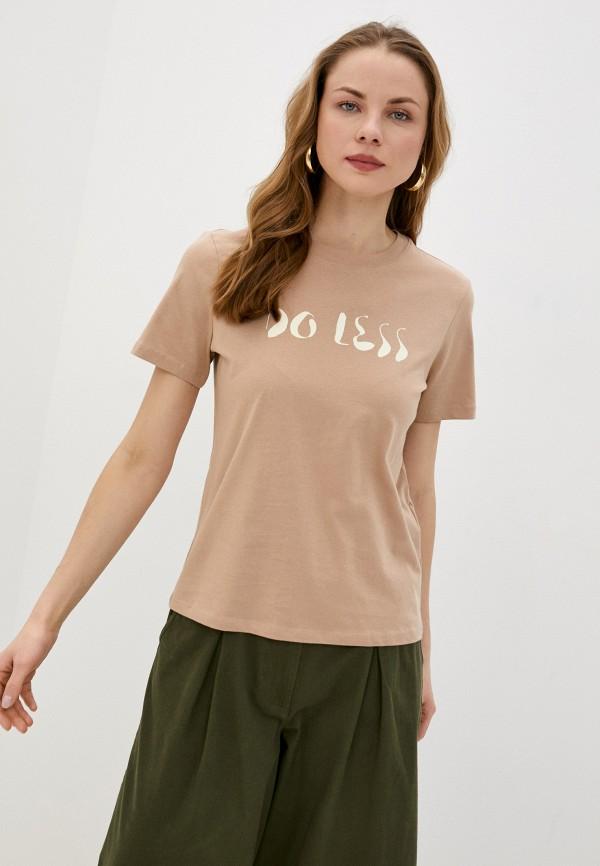 женская футболка pieces, бежевая
