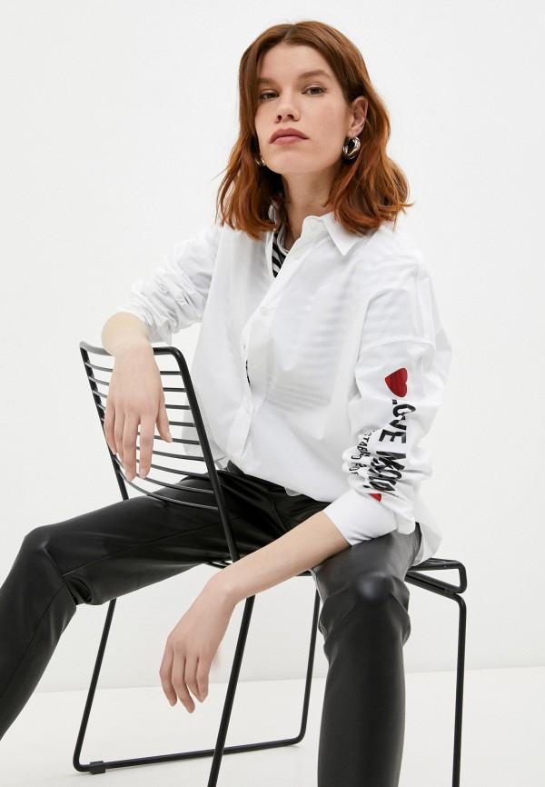 женская рубашка с длинным рукавом love moschino, белая