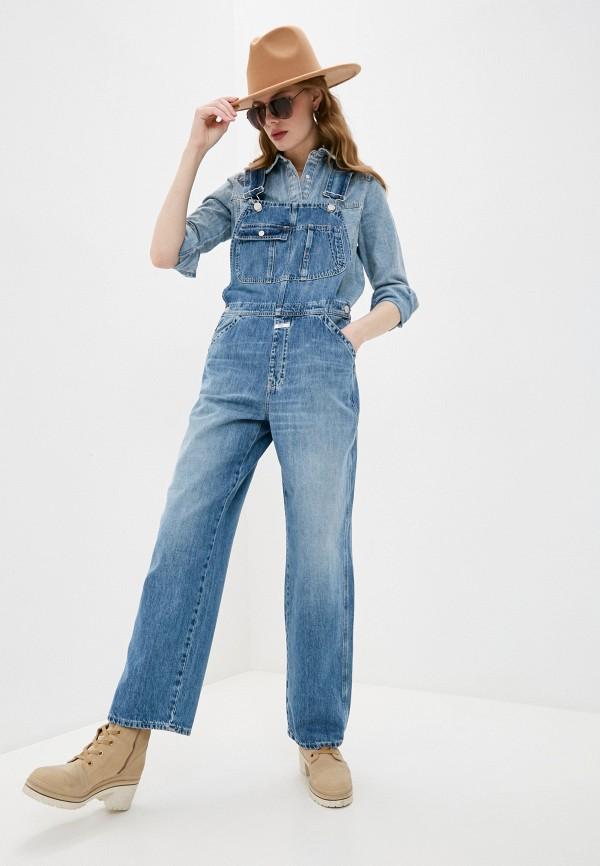 женский джинсовые комбинезон closed, голубой
