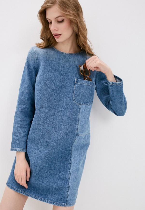 женское джинсовые платье closed, голубое