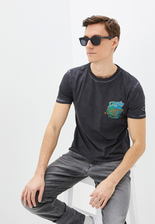мужская футболка с коротким рукавом replay, серая