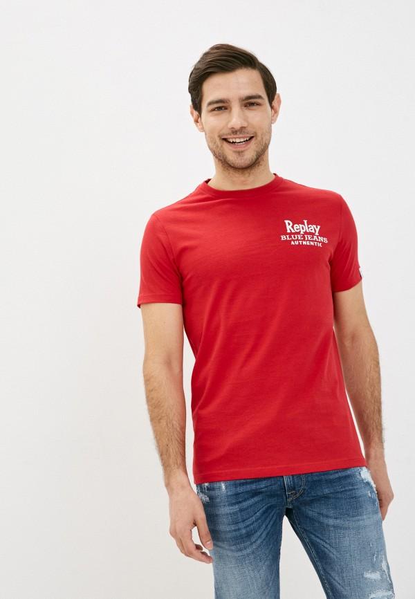 мужская футболка с коротким рукавом replay, красная