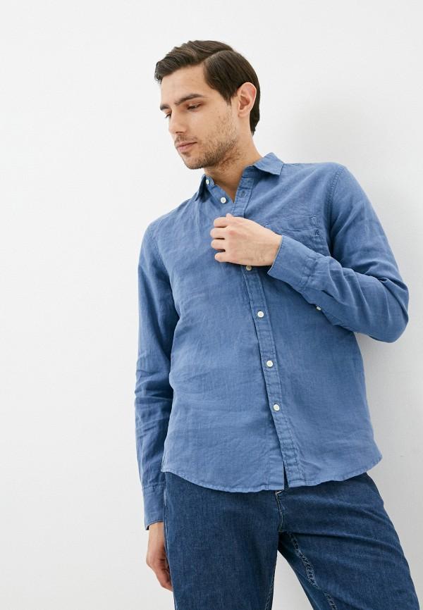 мужская рубашка с длинным рукавом replay, синяя
