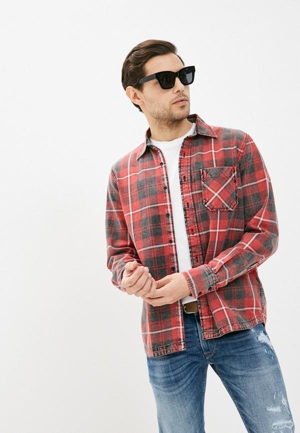 мужская рубашка с длинным рукавом replay, красная