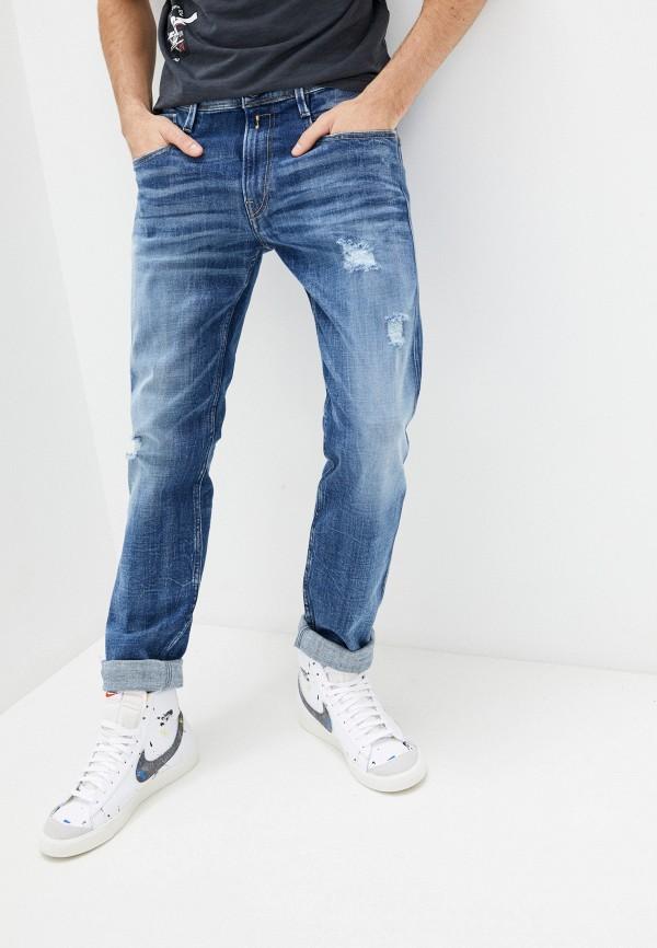 мужские прямые джинсы replay, голубые