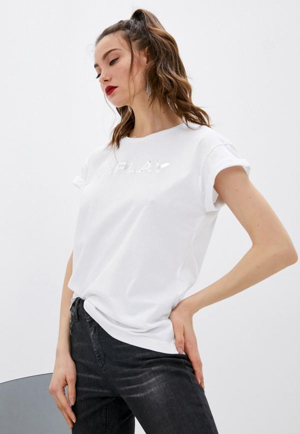 женская футболка replay, белая